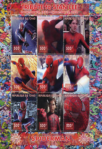 Chad-2018-CTO-Spiderman-Stan-Lee-Superheroes-9v-M-S-Comics-Movies-Stamps
