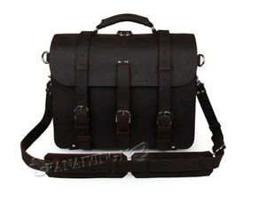 Men/'s Extra Large Saddle Leather Briefcase Messenger Laptop Handbag Backpack Bag
