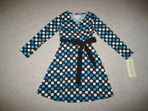 "NEW ""SILKY POLKA-DOTS"" BLUE Dress Girls Clothes 5 Fall Winter Rare Editions Kids"