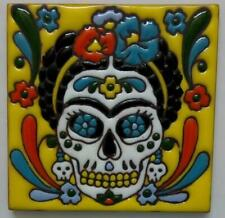 """Talavera tile clay pottery 4/"""" hi relief Day of the Dead CRAZY CAT LADY chair"""