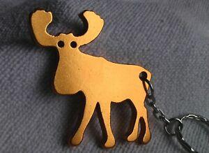 Schlüsselanhänger - GOLDENER ELCH aus Aluminium - Gesamtlänge ca. 10,5 cm