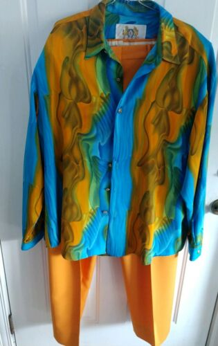 Mens Orange & Blue LIVE COLLECTION Two Piece Shirt