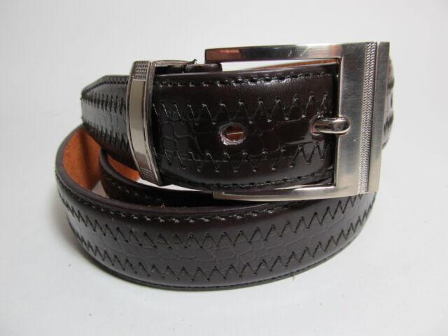 """Men Silver Buckle Dark Brown leather belt XL 42 - 44"""" #1041B"""