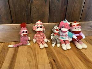 "New TY Beanie Babies Socks the Sock Monkey Size 6"" & Assorted Lot"