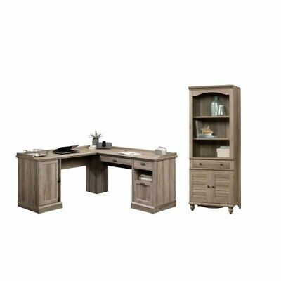 2 Piece Office Set With L Shape Computer Desk And Bookcase In Salt