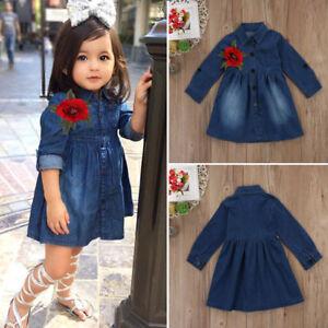 Image is loading US,STOCK,Baby,Girl,Toddler,Infant,Denim,Dresses,