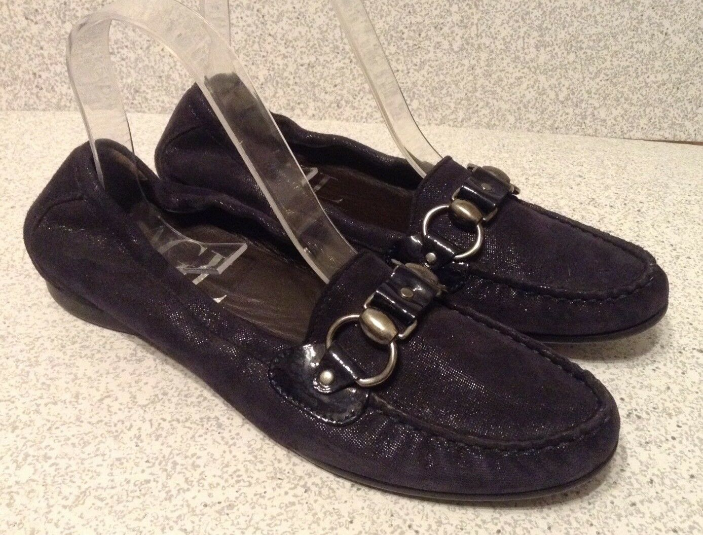 Attilio Giusti Leombruni Women's Loafers Size 39 Black Metallic Suede Leather