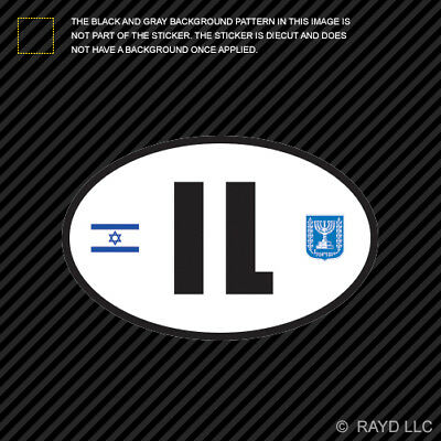 Israel Oval Sticker Decal Vinyl Israeli Country Code euro IL v3