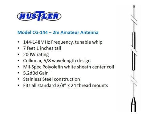 HUSTLER CG-144 5//8 WAVE 2m 5.2dB VHF MOBILE RADIO ANTENNA 3//8-24 MOUNT
