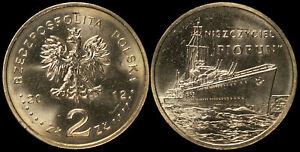 "Pologne. 2 Zloty. 2012 (Pièce KM#Y.844 Neuf) Destructeur "" Piorun"""