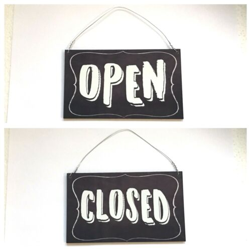 Open Closed Business Shop Cafe Sign Wall Plaque or Hanging Chalk Board Look