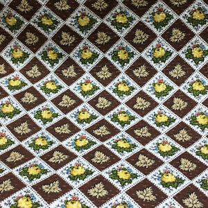 """Vintage Fabric Material A Waverly Bonded Fabric """"Calico Rose"""""""