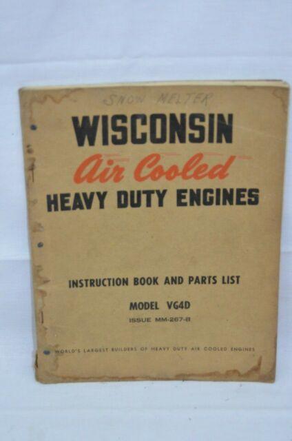 Vtg Wisconsin Vg4d Engine Operation Service Manual Parts Diagram Book  Mm-267-b for sale online | eBay | Wisconsin Engine Parts Diagram |  | eBay