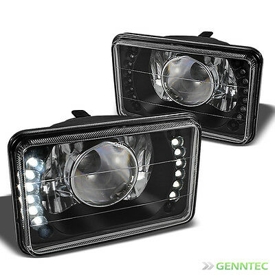 For 4x6 Black Diamond-Cut Pro Headlights w/Super-Bright LED Built-In Upgrade