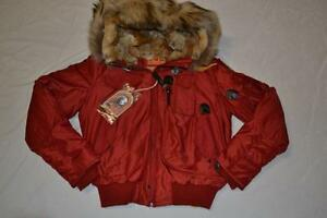 AUTHENTIC-PARAJUMPERS-GOBI-WOMEN-JACKET-BOMBER-REAL-FUR-RED-XL-XLARGE-BRAND-NEW