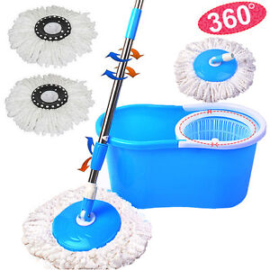360-Rotating-Head-Easy-Magic-Floor-Mop-Bucket-2x-Head-Microfiber-Spinning-USA