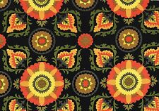 Mill Creek Fabric Callo-Fredo Noir Black Coral Olive Gold Outdoor Upholstery