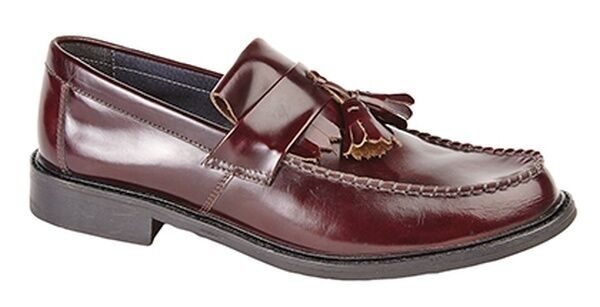 MENS SIZE 7 8 9 10 11 12 BROWN OX BLOOD LEATHER TOGGLE LOAFER MOD SCOOTER SHOES