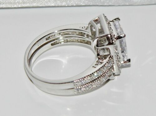 2 Ring/'s size N 925 3.50ct Emerald Cut Bridal Set Ring Sterling Silver