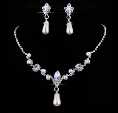 Wedding Bridal Jewelry Rhinestone Faux Pearl Necklace Water Drop Earrings Set UK