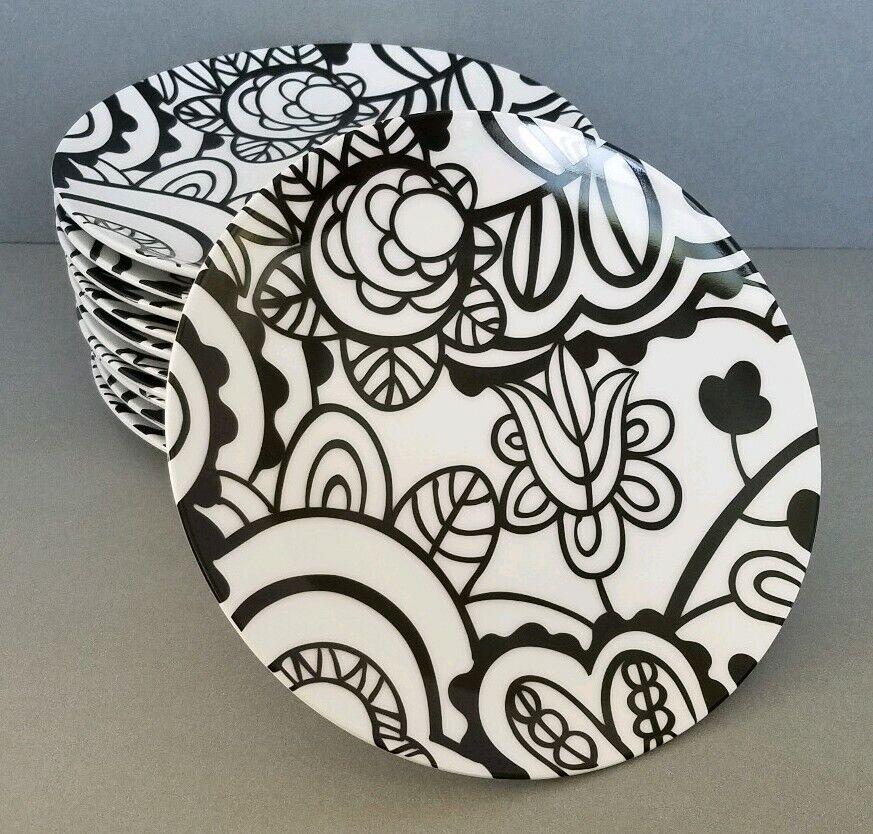 CRATE & BARREL GEMMA (12) porcelaine dessert assiettes Noir & Blanc Mod Floral