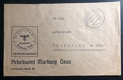 1944 marburg germany official arbeitsamt employment agency cover to frankfurt ebay. Black Bedroom Furniture Sets. Home Design Ideas