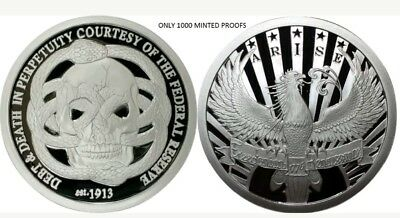 ORIGINAL SBSS 1 OZ .999 SILVER PROOF ROUND COIN MOLON LABE DEBT AND DEATH RARE