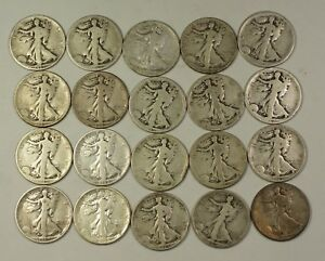 90/% Silver Coin Lot of Circulated Walking Liberty Half Dollars sold as each