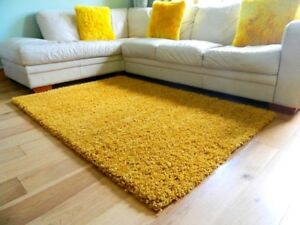 Details About Small Large Mustard Ochre Gold Thick Soft Bedroom Shaggy Rug Living Room