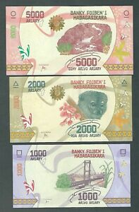 MADAGASCAR SET OF 6 NOTES 100,200,500,1000,2000,5000 ARIARY 2004 UNC NOTES