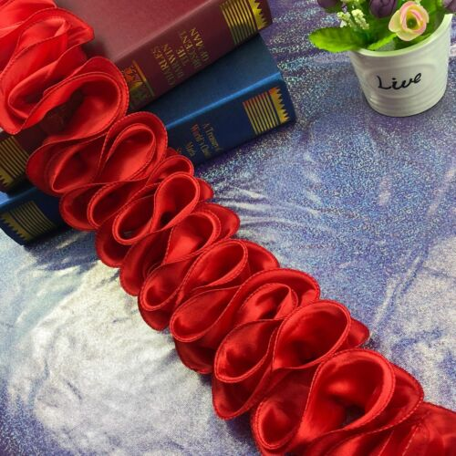 10yds 3D Satin Flower Ruffle Trim Ribbon DIY Sewing Craft Kids Dance Dress Decor