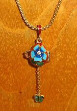 FABERGE ENAMEL Swarovsky Crystals opening Red EGG Blue flowers green Butterfly