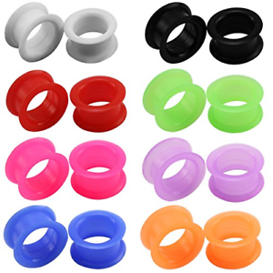 """1 Pair Thick Silicone Ear Gauges Tunnels Plugs Expander Piercing Jewelry 2g-1/"""""""