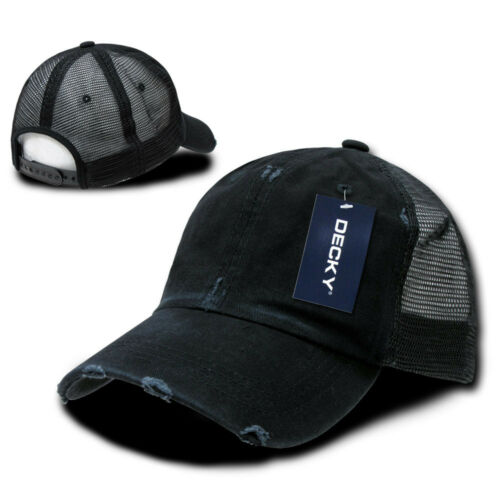 Black NEW VINTAGE WASHED TRUCKER HAT Curve Bill Baseball Cap mesh snapback