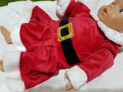 Weihnachten Kostüm Strampler Kleid Nikolaus Weihnachtsmann Velour Overall 50-74