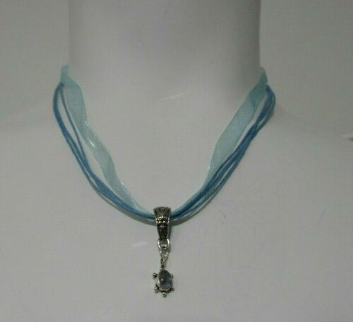 Details about  /Moonstone TURTLE Sterling Silver Charm PENDANT Organza SILK Cord Necklace NEW!