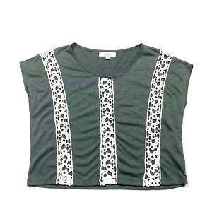 Umgee-Womens-M-Tunic-Top-Oversized-Draped-Crochet-Lace-Army-Green-Medium