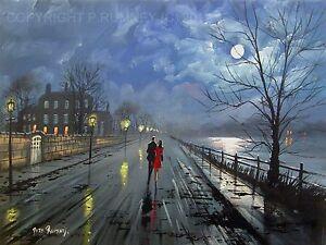 Pete-Rumney-Art-Original-Canvas-Painting-Moonlit-Night-Couple-Walking-Signed