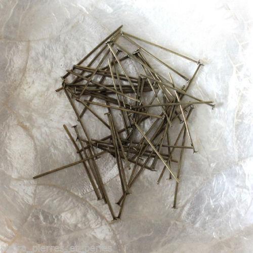 Épaisseur 0,7 mm BRONZE//LAITON 50 TIGES à TÊTE PLATE 30 MM ou 40 MM
