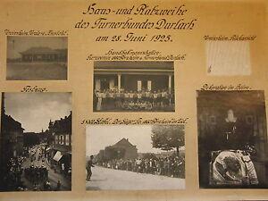 Turnerbund-Durlach-Haus-und-Platzweihe-28-6-1925-Tafel-mit-5-Fotos-Vereinsheim
