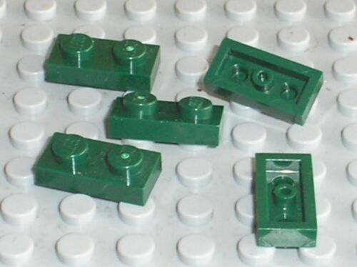 5 x plaque plate LEGO DkGreen 1x2 ref 3023 / Set 75953 75200 71043 75168 75150..