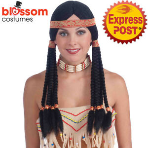 W603-Deluxe-Black-Indian-Costume-Wig-With-Headband-Pocahontas-Long-Black-Plaits