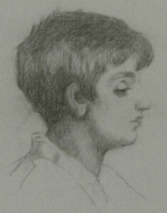 Mid 20th Century Charcoal Drawing - Portrait of a Young Boy