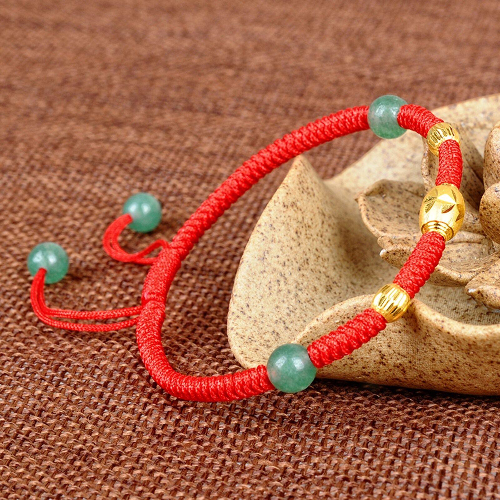 Fine Pure 999 24k Yellow gold Bracelet Jade Jadeite Bead Knitted Chain Bracelet