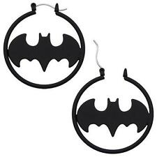 Batman Matte Black Fashion 1.5'' Hoop Earring Pair