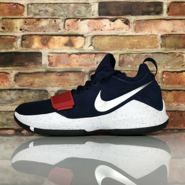 best service e80fc 701ed Men Nike Pg1 Paul George Basketball Shoes Size 9 Navy Blue Red White 878627  900