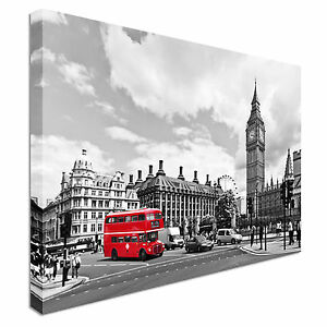 Image Is Loading London Town Red Bus Canvas Wall Art Prints