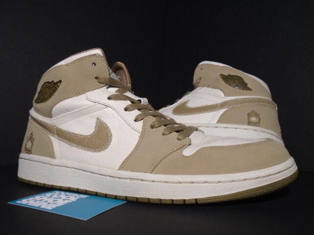 2008 Nike Air Jordan I Retro 1 OG MILITARY ARMED FORCES PEARL WHITE HAY WALNUT