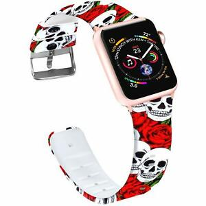 Band For Apple Watch 44mm 42mm Soft Silicone Roses Skull Strap Iwatch 4 3 2 1 Ebay