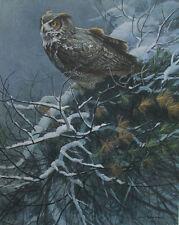 Winter Pine - Great Horned Owl by Robert Bateman Ltd. Edition S/N 943/1250